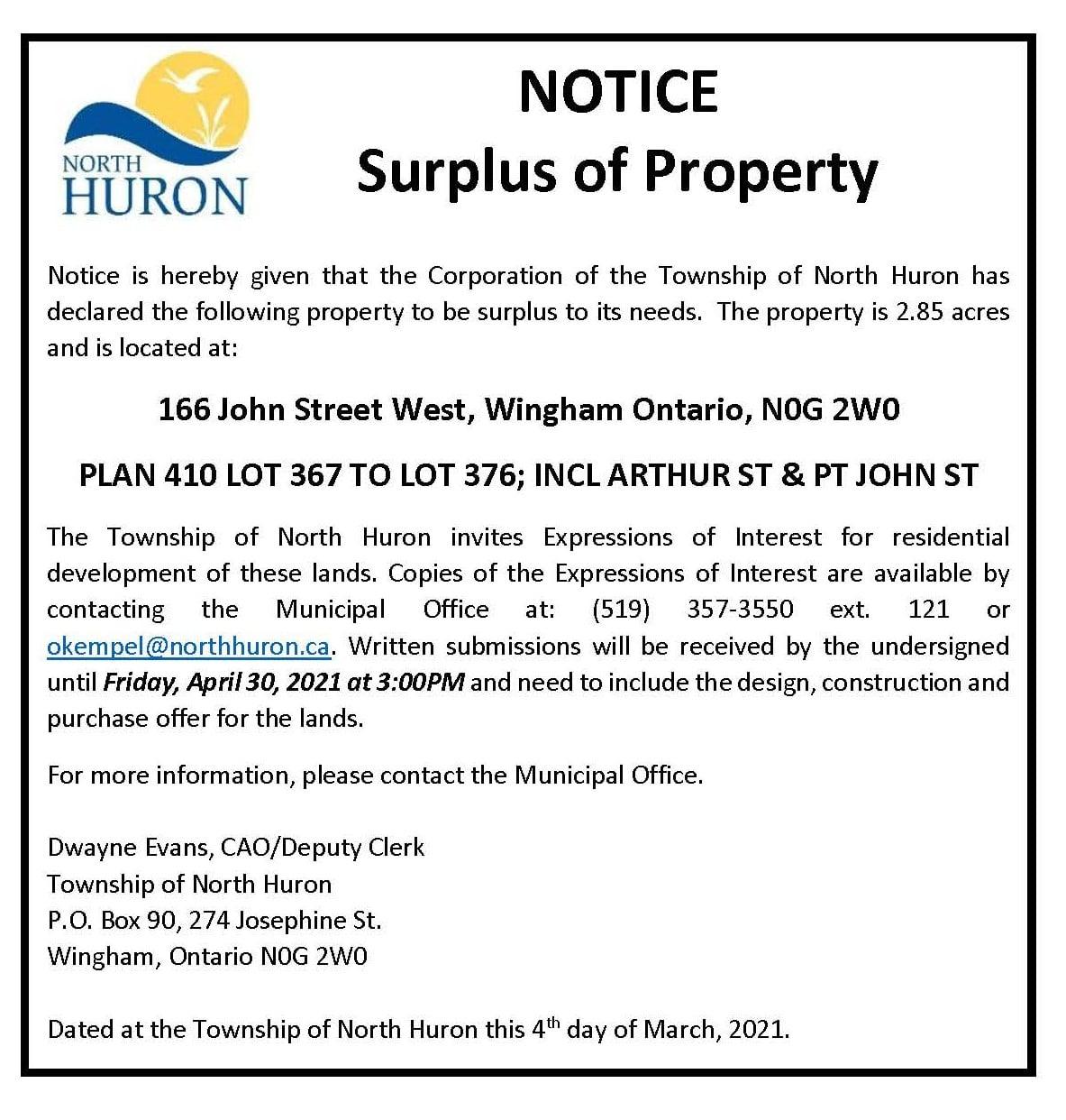 Surplus of Property Advertisement